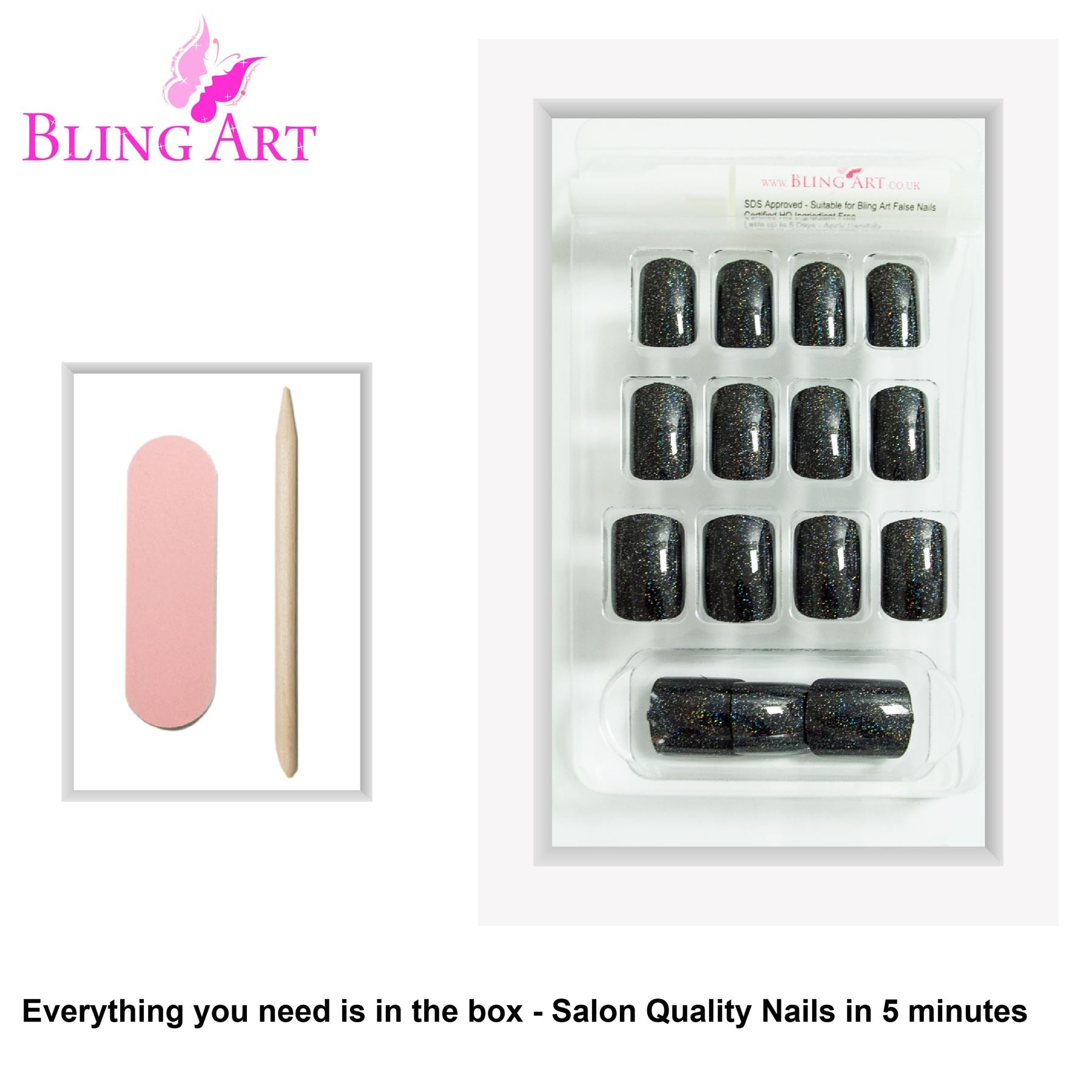 False Nails by Bling Art Black Gel French Squoval 24 Fake Medium Acrylic Tips