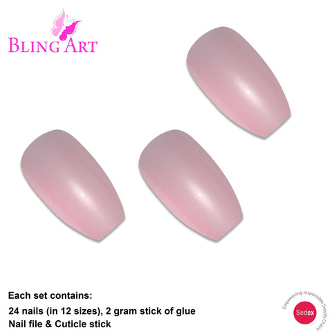 False Nails by Bling Art Pink Glitter Ballerina Coffin 24 Fake Long Acrylic Tips - Bling Art