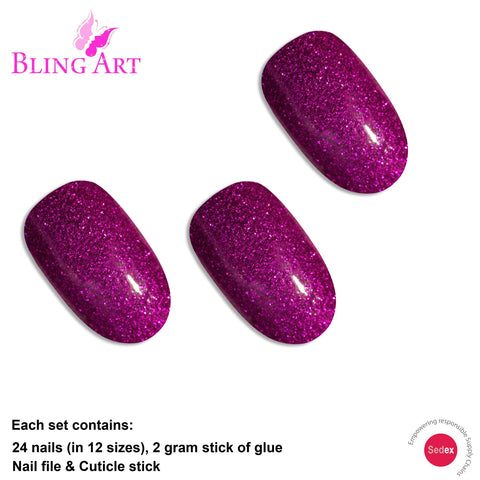 False Nails by Bling Art Magenta Gel Oval Medium  Acrylic Tips Glue with Glue - Bling Art