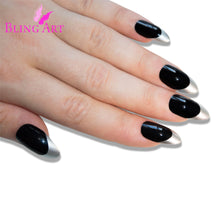 False Nails Bling Art Black Silver Almond Stiletto Long Fake Acrylic Tips with Glue