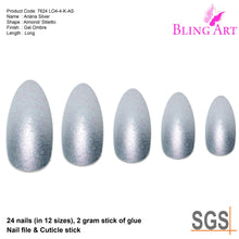 False Nails by Bling Art Silver Gel Ombre Almond Stiletto 24 Fake Acrylic Tips