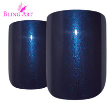 False Nails by Bling Art Blue Glitter French Squoval 24 Fake Medium Acrylic Tips