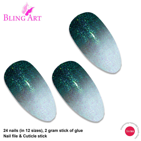 False Nails by Bling Art Black Gel Ombre Almond Stiletto 24 Fake Acrylic Tips - Bling Art