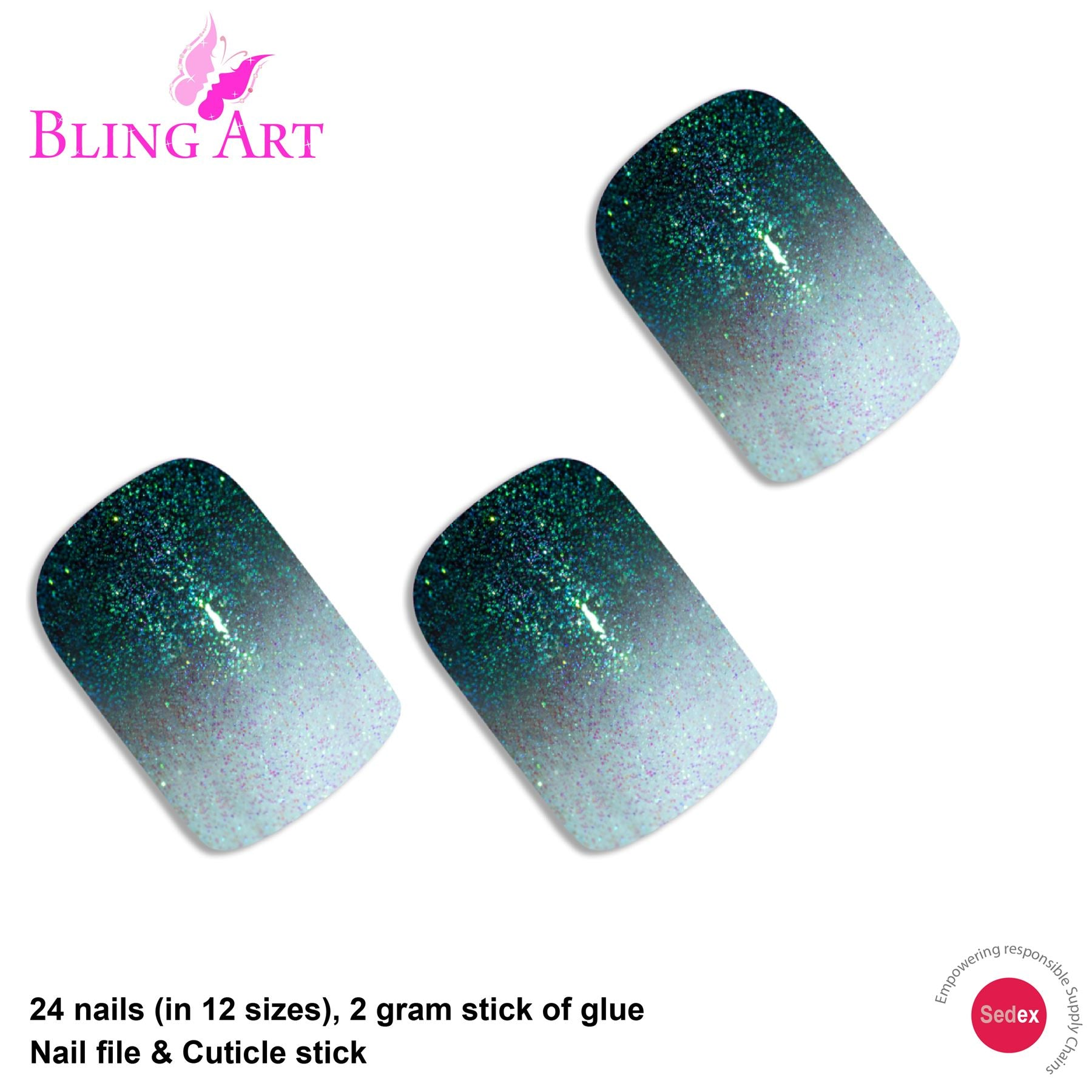 False Nails by Bling Art Black Gel Ombre French Squoval 24 Fake Medium Tips