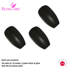 False Nails by Bling Art Black Matte Metallic Ballerina Coffin Fake Acrylic Tips