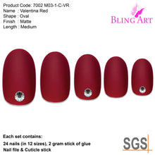 False Nails by Bling Art Red Matte Oval Medium Fake Acrylic 24 Tips with Glue