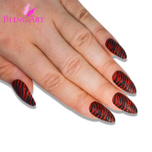 False Nails Bling Art Black Red Almond Stiletto Long Fake Acrylic Tips Glue