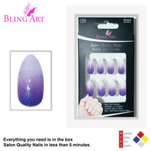 False Nails by Bling Art Purple Gel Ombre Almond Stiletto 24 Fake Acrylic Tips