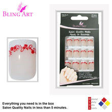 False Nails by Bling Art White Red Glitter Medium Tips With Glue