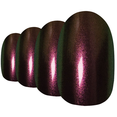False Nails by Bling Art Gold Green Chameleon Oval Medium Fake 24 Nail Tips - Bling Art