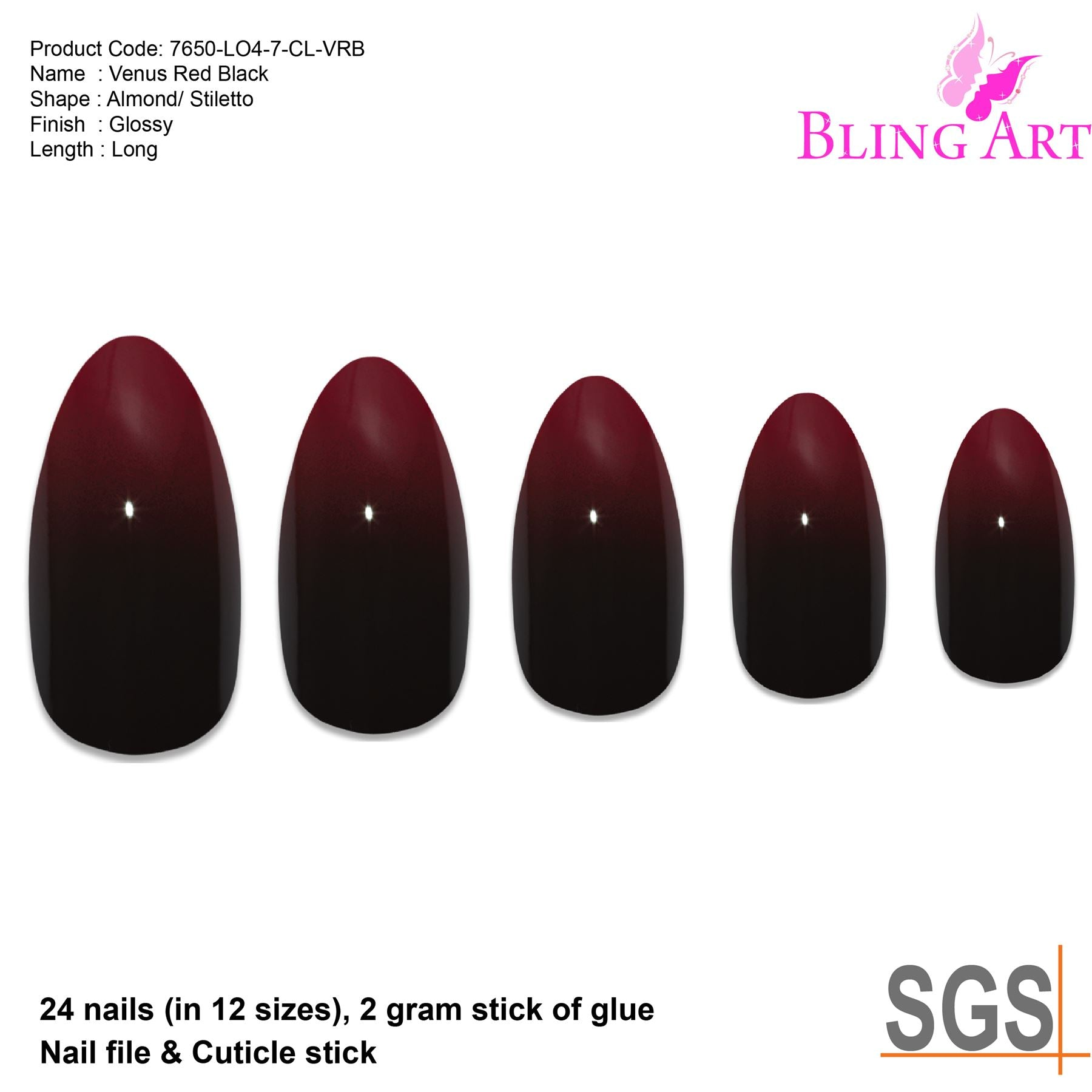 False Nails by Bling Art Red Black Almond Stiletto Acrylic 24 Fake Long Tips