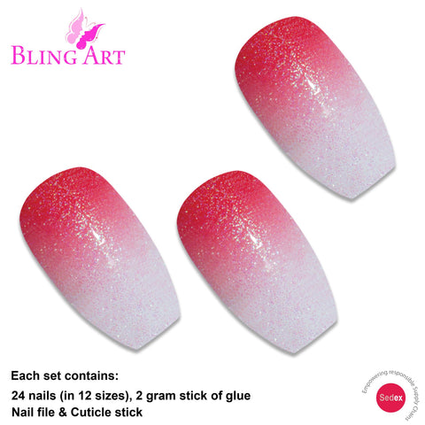 False Nails by Bling Art Red Gel Ombre Ballerina Coffin Fake Long Acrylic Tips - Bling Art