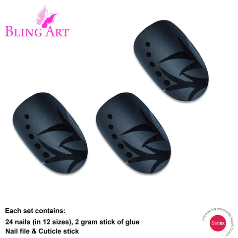False Nails by Bling Art Black Leaf Matte Oval Medium Fake Acrylic Nail Tips Glue - Bling Art