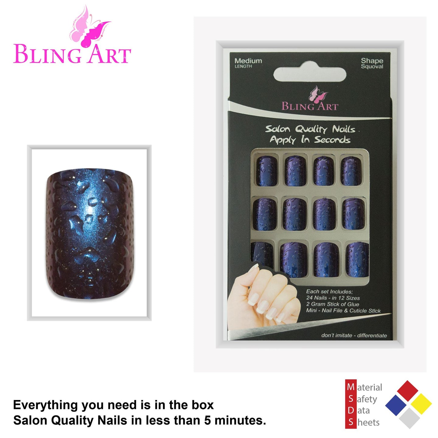 False Nails By Bling Art Blue Purple Water French Squoval 24 Fake Medi