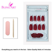 False Nails by Bling Art Red Matte Ballerina Coffin 24 Fake Long Acrylic Nail Tips