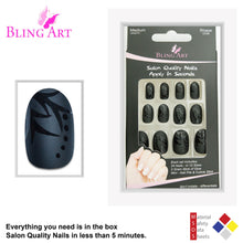 False Nails by Bling Art Black Leaf Matte Oval Medium Fake Acrylic Nail Tips Glue