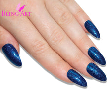 False Nails Bling Art Blue Gel Almond Stiletto Long Fake Acrylic Tips with Glue