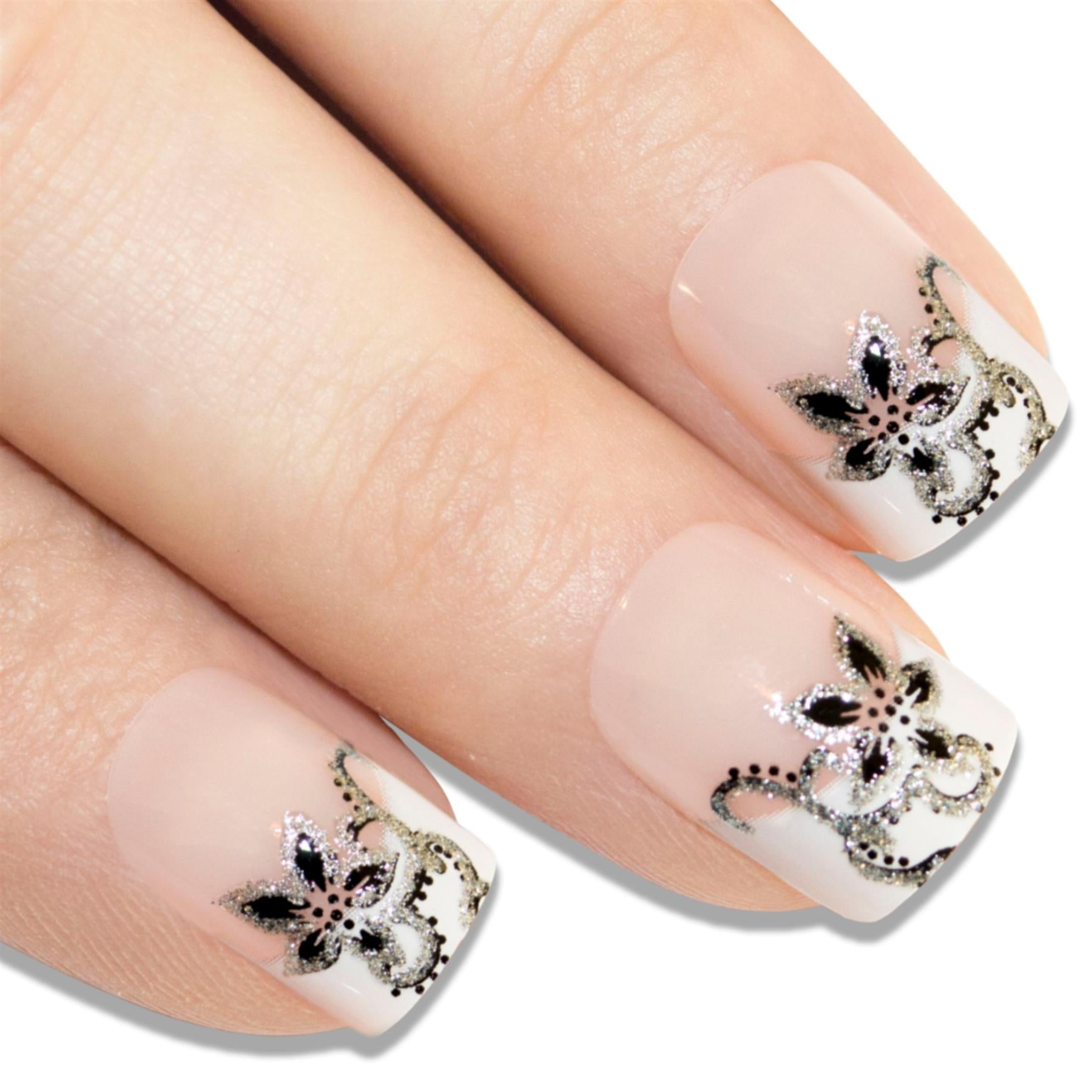 False Nails by Bling Art Black White French Manicure Fake Medium Tips with Glue, Nail Care by Bling Art
