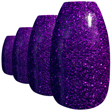 False Nails by Bling Art Purple Gel Ballerina Coffin 24 Fake Long Acrylic Tips - Bling Art