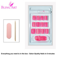 False Nails by Bling Art Pink Gel French Manicure Fake Medium Tips with Glue