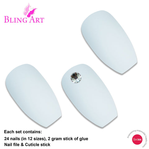 False Nails by Bling Art White Matte Ballerina Coffin 24 Fake Long Acrylic Tips - Bling Art