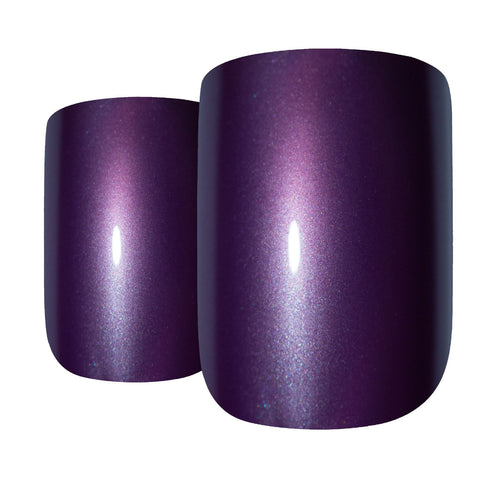 False Nails Bling Art Purple Acrylic French Manicure Fake Medium Tips with Glue - Bling Art
