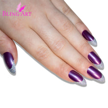 False Nails by Bling Art Purple Silver Almond Stiletto Long Fake Acrylic Tips Glue