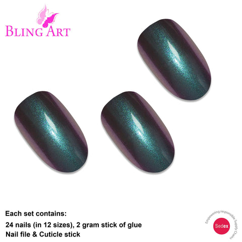 False Nails by Bling Art Green Purple Chameleon Oval Medium Fake 24 Nail Tips - Bling Art