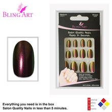 False Nails by Bling Art Gold Green Chameleon Oval Medium Fake 24 Nail Tips