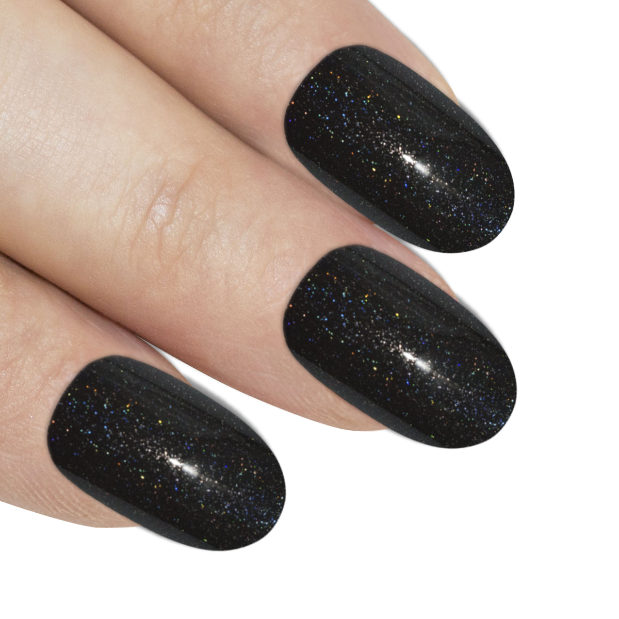 False Nails by Bling Art Black Gel Oval Medium Fake Acrylic 24 Tips with Glue, Nail Care by Bling Art