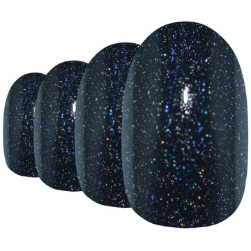False Nails by Bling Art Black Gel Oval Medium Fake Acrylic 24 Tips with Glue - Bling Art
