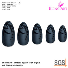 False Nails by Bling Art Black Leaf Matte Almond Stiletto Acrylic Fake Tips