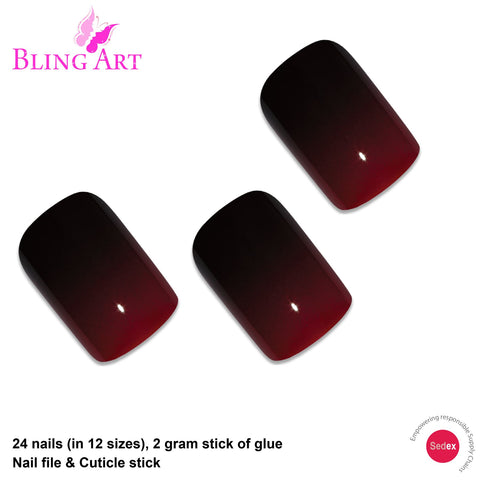 False Nails by Bling Art Red Black French Squoval 24 Fake Medium Acrylic Tips - Bling Art