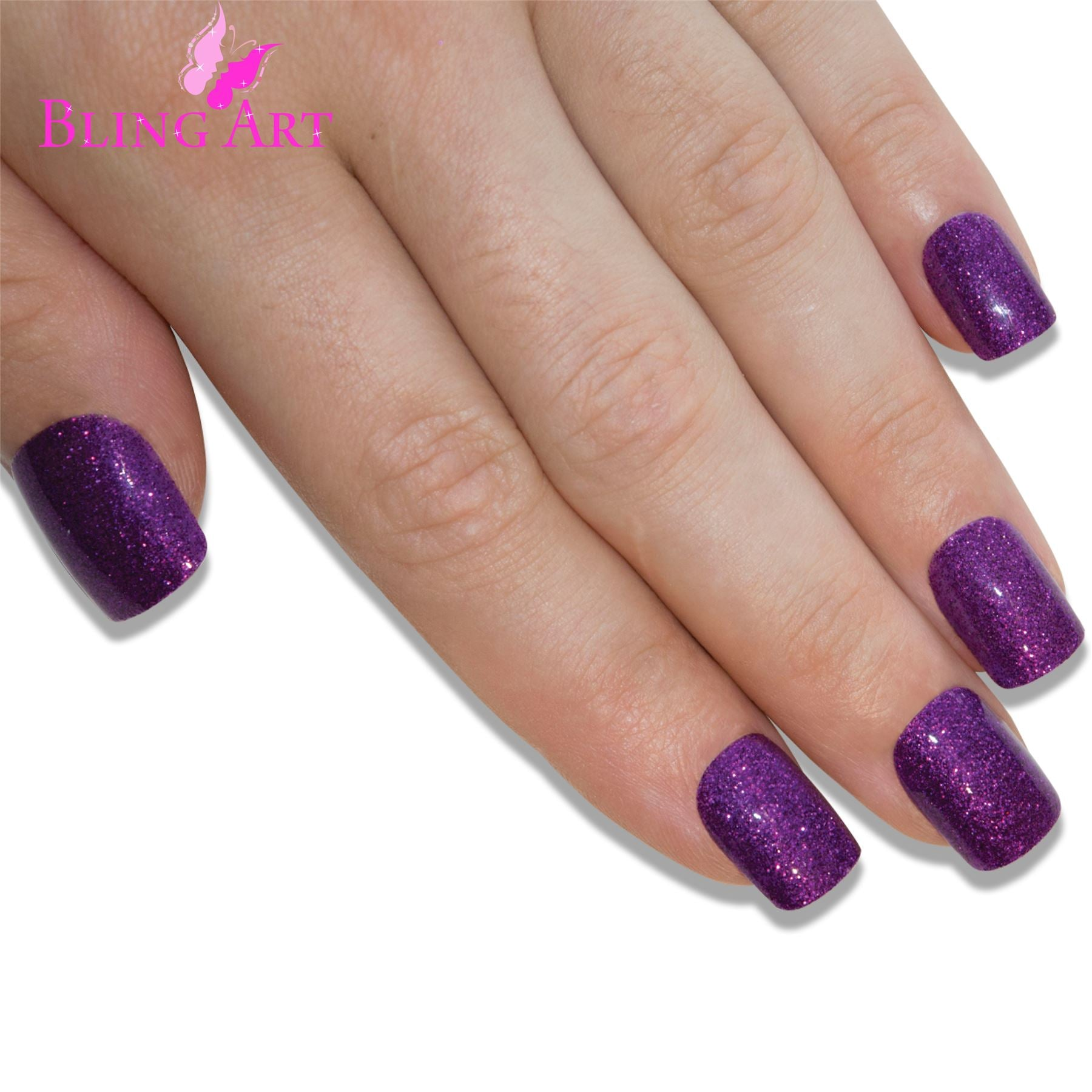 False Nails by Bling Art Purple Gel French Manicure Fake Medium Tips with Glue