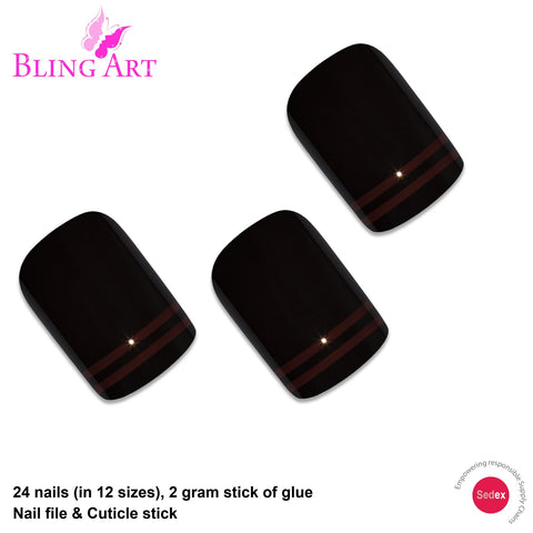 False Nails by Bling Art Black Red Glossy French Squoval 24 Fake Medium Tips - Bling Art