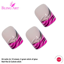 False Nails by Bling Art Glitter Pink French Manicure Fake Medium Tips with Glue