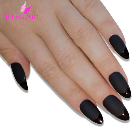 False Nails Bling Art Black Matte Almond Stiletto Long Fake Acrylic Tips with Glue - Bling Art