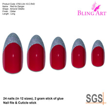 False Nails Bling Art Red Silver Almond Stiletto Long Fake Acrylic Tips and Glue