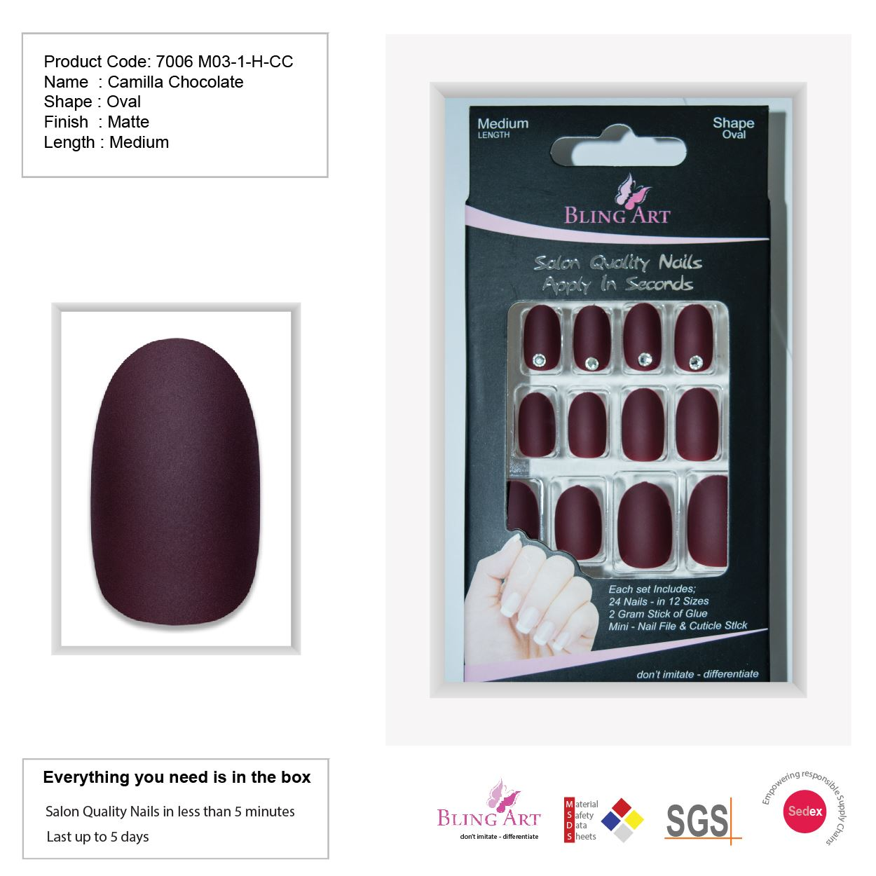 False Nails by Bling Art Brown Matte  Oval Medium Fake Acrylic Tips Glue