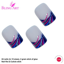 False Nails Bling Art Glitter Purple French Manicure Fake Medium Tips with Glue