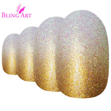 False Nails by Bling Art Gold Gel Ombre Oval Medium Fake Acrylic 24 Tips Glue