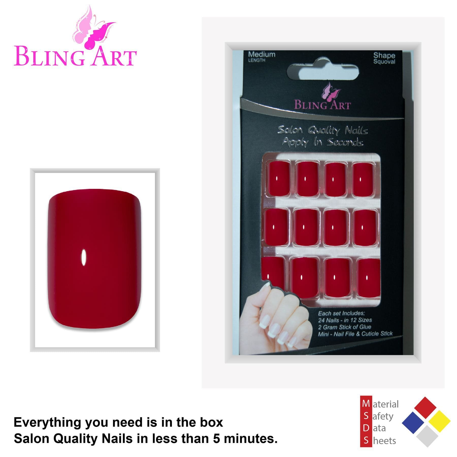 False Nails by Bling Art Red Polished French Manicure Fake Medium Tips with Glue