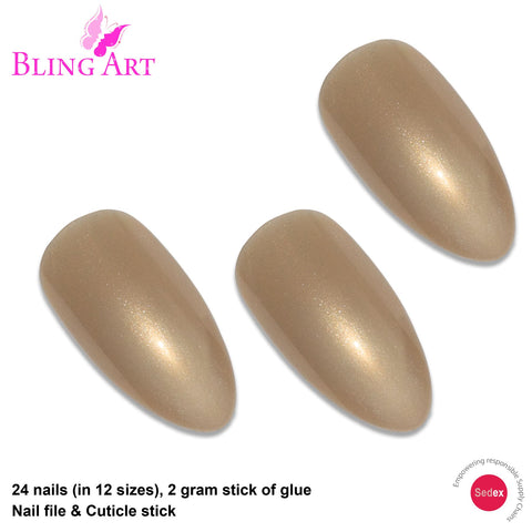 False Nails by Bling Art Gold Glitter Almond Stiletto 24 Fake Long Acrylic Tips - Bling Art