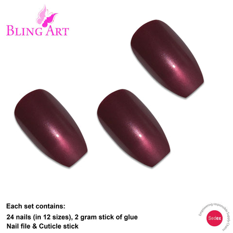 False Nails by Bling Art Red Brown Glitter Ballerina Coffin 24 Fake Long Tips - Bling Art