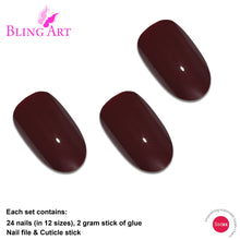 False Nails by Bling Art Red Brown Polished Oval Medium Fake Acrylic Nail Tips