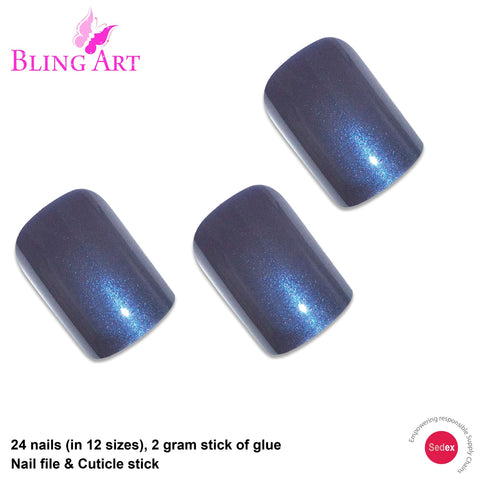 False Nails by Bling Art Grey Glitter French Squoval 24 Fake Medium Acrylic Tips - Bling Art