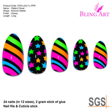 False Nails Bling Art Pattern Power Almond Stiletto Long Fake Acrylic Tips Glue