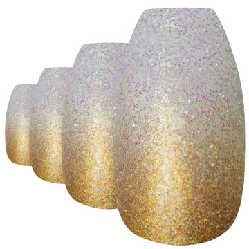 False Nails by Bling Art Gold Gel Ombre Ballerina Coffin 24 Fake Acrylic Tips - Bling Art