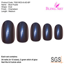 False Nails by Bling Art Blue Purple Chameleon Oval Medium Fake 24 Nail Tips