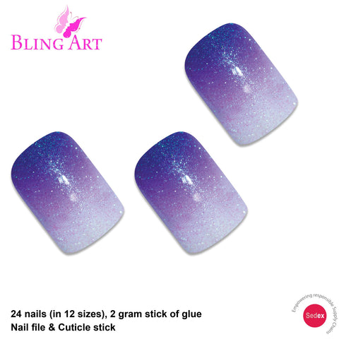 False Nails by Bling Art Purple Gel Ombre French Squoval 24 Fake Medium Tips - Bling Art